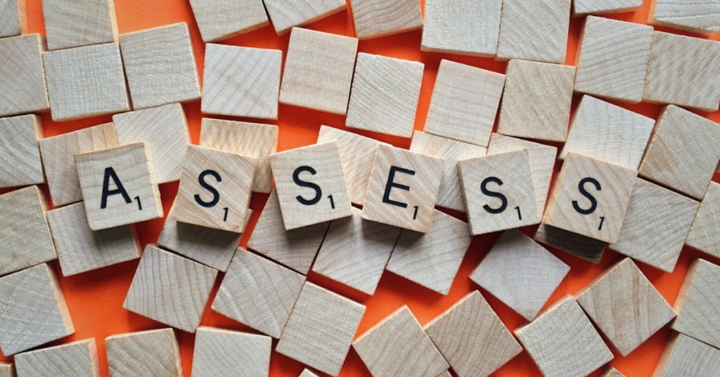 Building blocks with the word 'assess' written on them