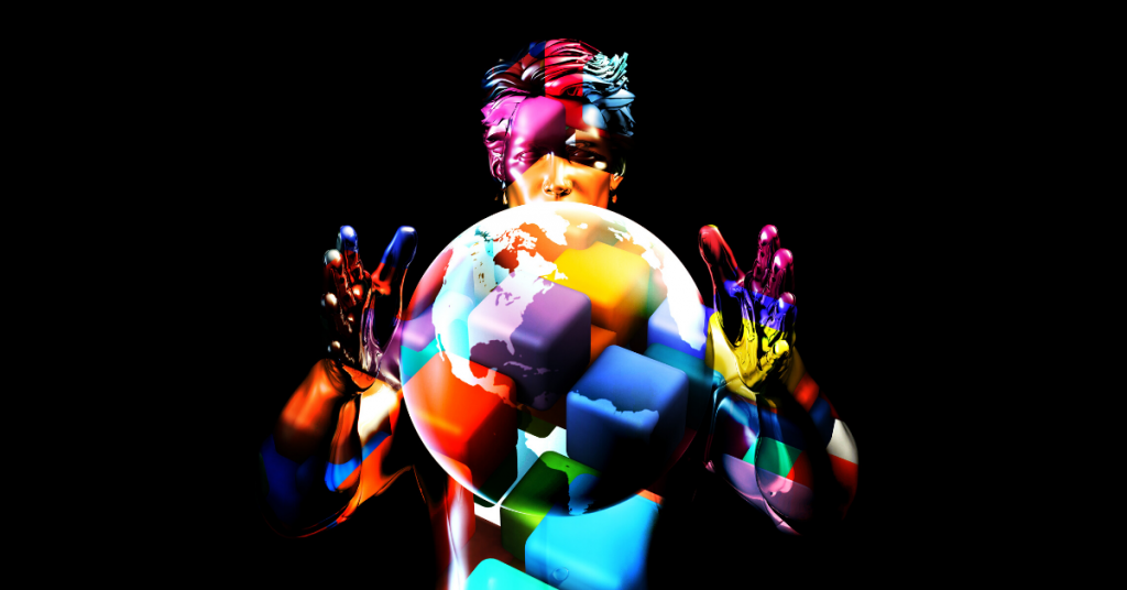 Multicoloured man holding a multicoloured globe