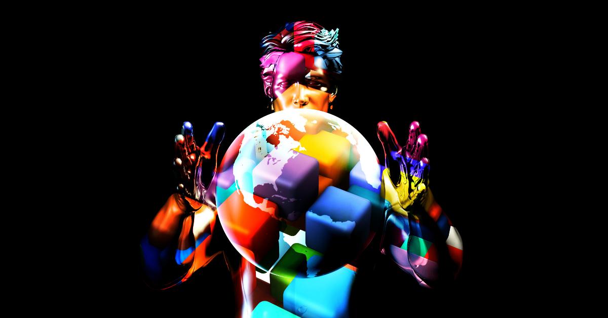 Multicoloured man holding a multicoloured globe